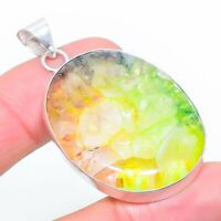 "Agate Geode Slice Gemstone Ethnic Handmade Gift Jewelry Pendant 2.09"" JH"