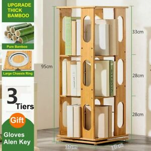 Space Saving Rotating Bamboo Bookshelf Bookcase Oval Style 3 Tiers Huge Capacity