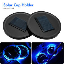 2x Solar Cup Holder Bottom Pad Blue LED Light Cover Atmosphere Lamp For All Car