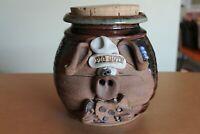 Vintage Pig Out Cookie Pottery Jar Brown with cork lid Nice!