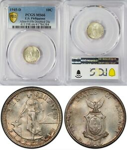 1945-D US/Philippines 10 Centavos ~ DOUBLED DIE ~ PCGS MS66 ~ Silver ~ A#9.05b