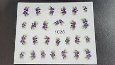 Nail Art Water Transfer Decal Stickers Purple Flowers 1028