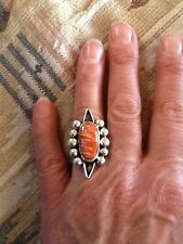 NAVAJO RING STERLING SPINY OUSTER SHELL HUGE  8
