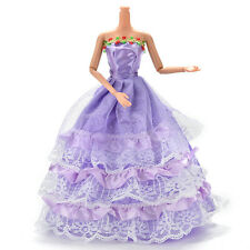 1 Pcs Long Veil Trailing Dress for Barbies Purple Handmade Dresses for Doll TO