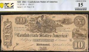 1861 $10 DOLLAR CONFEDERATE STATES CIVIL WAR COTTON PICKING NOTE T-29 PCGS 15