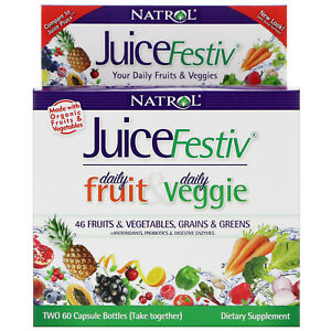 Natrol JuiceFestiv The Ultimate Fruit & Veggie Super Food 60 + 60 Caps NIB