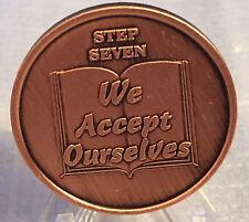 Step 7 Copper Twelve Step Medallion AA NA Recovery 12 Steps Serenity Prayer Chip