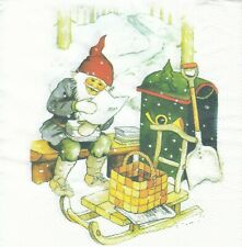 1 Lunch Papier Serviette Napkin (BP673) Nisser mit Weihnachtspost