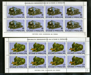 Sao Tome 808 + 813 ** Eisenbahn Lokomotiven (8er Bogen ; 1982)