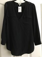 NWT JOIE Black Silk Split Neck L.Sleeve Pull-Over Blouse Size Med W/Black Cami