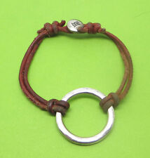 JAMES AVERY Sterling Silver & RED LEATHER RIATA or LASSO CHARM BRACELET