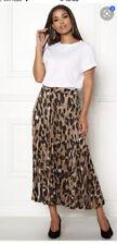 ex NEW LOOK leopard print MULTI pleated skirt MIDI MAXI SKIRT SATIN SZ 18 NEW