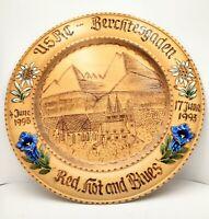 USRC - Berchtesgaden Wood  Red, Hot and Blues Souvenir Plate Vintage 1993