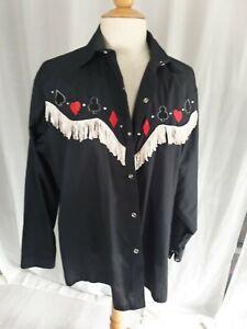 Mens Cowbow Shirt 17 Inch Neck Vintage Fringe Costume Black Cotton