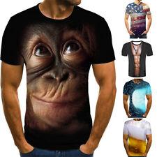 Moda Hombre 3D Estampado Camisetas Manga Corta Casual Cuello Redondo Tops Blusa