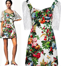 Dolce & Gabbana Cotton Macrame Lace Sleeve Floral Pattern Jacquard Dress