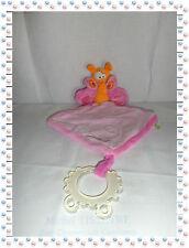 U - Doudou Marionnette Ella Papillon Orange Rose Anneau Dentition Fleurs Liboo