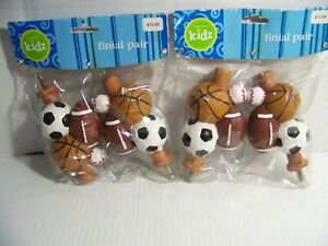 Cambria Kids Boys Room Sports Cluster Finial Football Set of 4 for 2 Curtain Rod