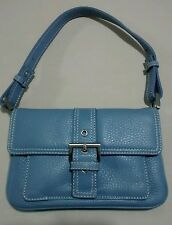 Ladies Talbot's Steel Blue Leather Small Shoulder Hand Bag Purse NWOT