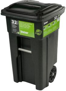 Toter 32 Gal. Green Trash Can With Wheels Attached Lid Durable Tilt Roll Mobile
