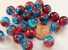 20 perles rondes 10mm verre CRAQUELE ROUGE et BLEU DIY création bijoux
