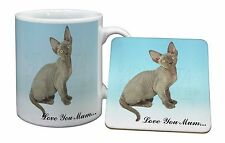 Devon Rex Kitten 'Love You Mum' Mug+Coaster Christmas/Birthday Gift, AC-175lymMC