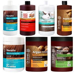 Dr Sante Keratin Argan Macadamia Coconut Hair Care Shampoo Mask Balm 1000ml