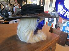 "Vintage Victorian Black Velvet 5"" Brim Riding/Touring Hat Ostrich Feather Detail"