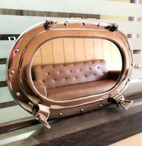 ANTIQUE Oval Porthole Shiny Silver Finish Port Mirror Wall Hanging Ship Porthole
