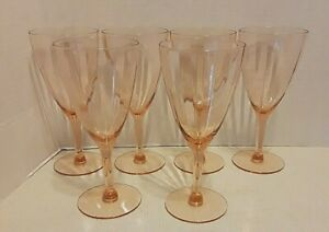 6 VINTAGE PINK WINE GLASSES 7'' TALL GOBLETS ELEGANT PINK GLASS