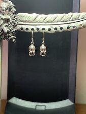 Sterling Silver Skull Pierced Earrings.