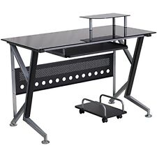 Flash Furniture Black Glass Computer Desk w/Pull-Out Keyboard Tray & Cpu Cart