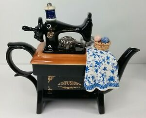 """Teapot """"SEWING MACHINE"""" Infusion with Quilt Cardew Design Made in England"""
