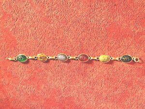 """VINGAGE  10 K Gold with 14k clip Scarab Bracelet Beetle Gemstone 7-1/4 """""""