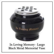 Large Rose Memorial Vase -Metal Black Flower Pot for Grave Side Cemetery Funeral