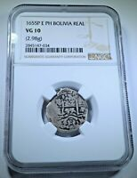 NGC 1655 Spanish Bolivia Silver 1 Reales Antique Colonial 1600's Pirate Cob Coin