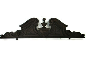 Hand Carved Wood French Pediment Flowers Heart Ornate Over door Architectural