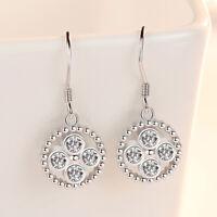 925 Sterling Silver Crystal Round Shape Dangle Ear Hook Earrings Women Jewelry