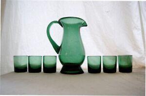 Vetro di Empoli Taddei glass Karaffe, 6 Gläser, grün green 1940, E. Taddei italy
