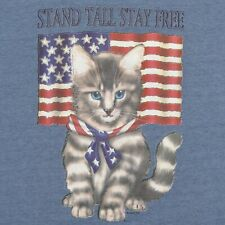Cats Kittens Patriotic America Stay Free Blue Eyed Adult Small T-Shirt NWOT