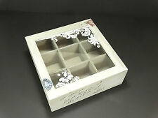 Wooden Shabby Schic Style Tea Box Storage Home Kitchen Decor 9 Compartments