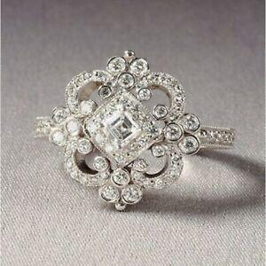 Antique Vintage Art Deco 1.50Ct Diamond 14k White Gold Finish Engagement Ring