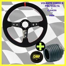 VOLANTE CORSICA Desplazado PIEL VUELTA+PIÑA VW GOLF MK1,2,3,4,5Jetta +Claxon OMP