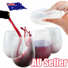 White Unbreakable Silicone Cup Wine Glass Stemless Beer Whiskey Collapsible BK