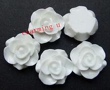 4pz abbellimenti fiore  CABOCHON in resina  20x9mm colore bianco