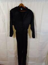 Vtg 1980s Justine JET BLACK SATIN JUMPSUIT Womens 7-8 Classy Curvy Cat Suit