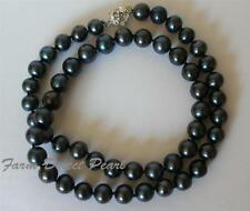 """16"""" Inch  Genuine 7-8mm ROUND Black Pearl Strand Necklace Cultured Freshwater"""