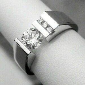 1.69 Ct Diamond Tension Set In 14k White Gold Men's Ring Engagement Wedding Ring