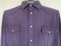 Wrangler Mens XL Blue Red White Plaid Long Sleeve Pearl Snap Front Western Shirt
