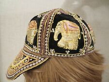Embroidered Beaded Baseball Hat Made in Myanmar Burma Elephants Palettes Gold